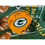 Full Size Authentic Packers Helmet Autographed by Brett Favre (#4), Bart Starr (#15) and Aaron Rodgers (#12)