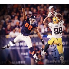 """16""""x20"""" Photo """"Catch Against the Bears"""" Autographed by Jermichael Finley (#88)"""
