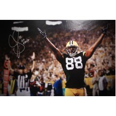 """35""""x23"""" (Oversized) Canvas """"Hands Up for Touchdown"""" Autographed by Jermichael Finley (#88)"""