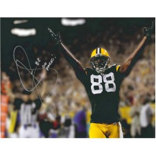 """16""""x20"""" Photo """"Hands up for Touchdown"""" Autographed by Jermichael Finley (#88)"""
