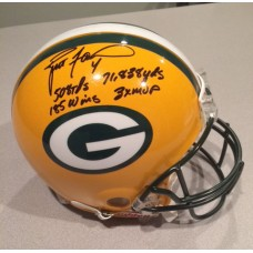 Packers Full Size Helmet with Career Stats Autographed by Brett Favre (#4)